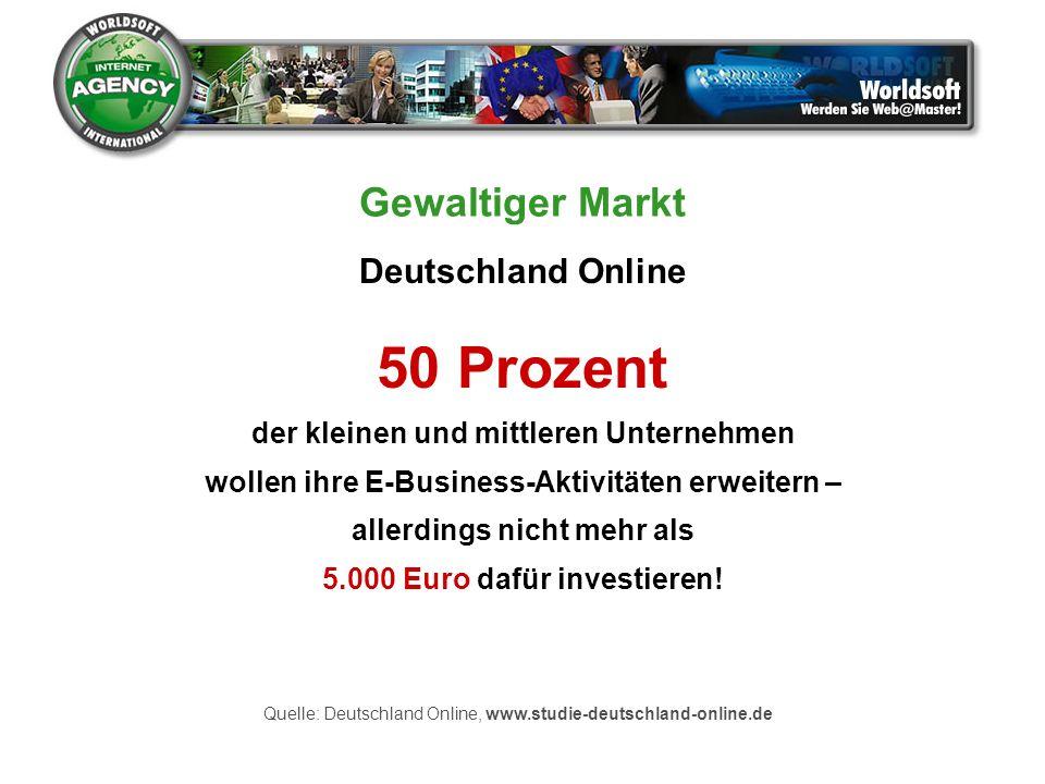 50 Prozent Gewaltiger Markt Deutschland Online
