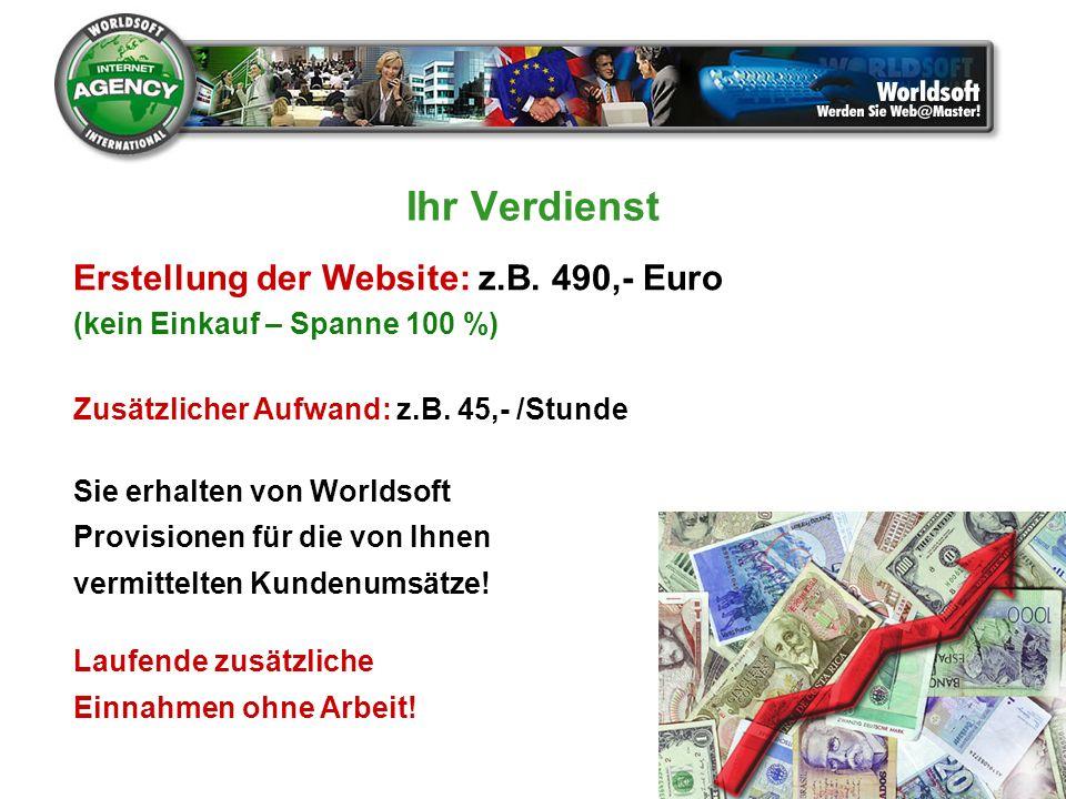 Ihr Verdienst Erstellung der Website: z.B. 490,- Euro