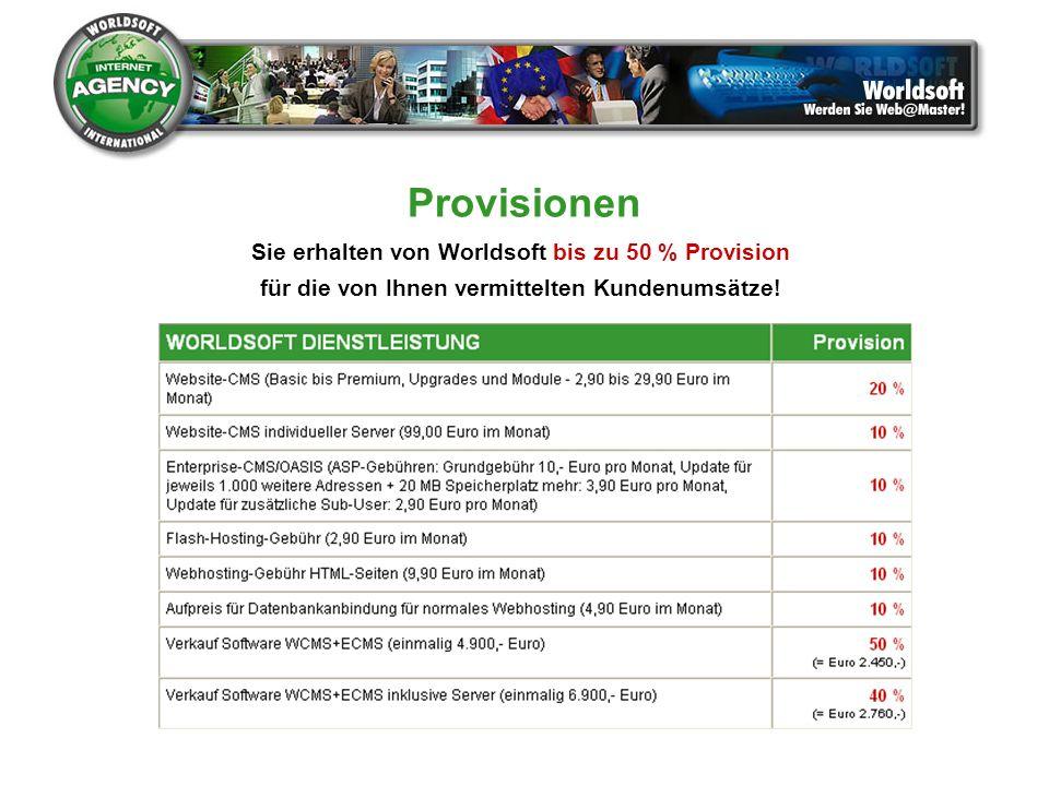 Provisionen Sie erhalten von Worldsoft bis zu 50 % Provision