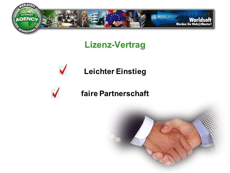 Lizenz-Vertrag Leichter Einstieg faire Partnerschaft