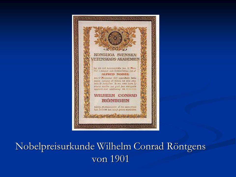 Nobelpreisurkunde Wilhelm Conrad Röntgens von 1901