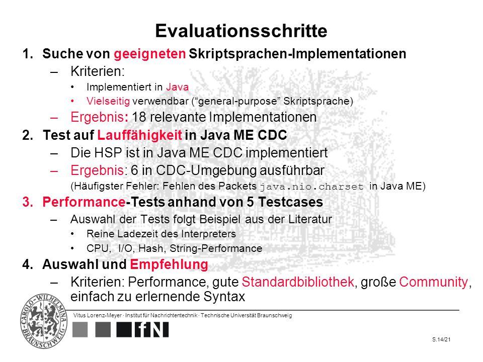 Evaluationsschritte Suche von geeigneten Skriptsprachen-Implementationen. Kriterien: Implementiert in Java.