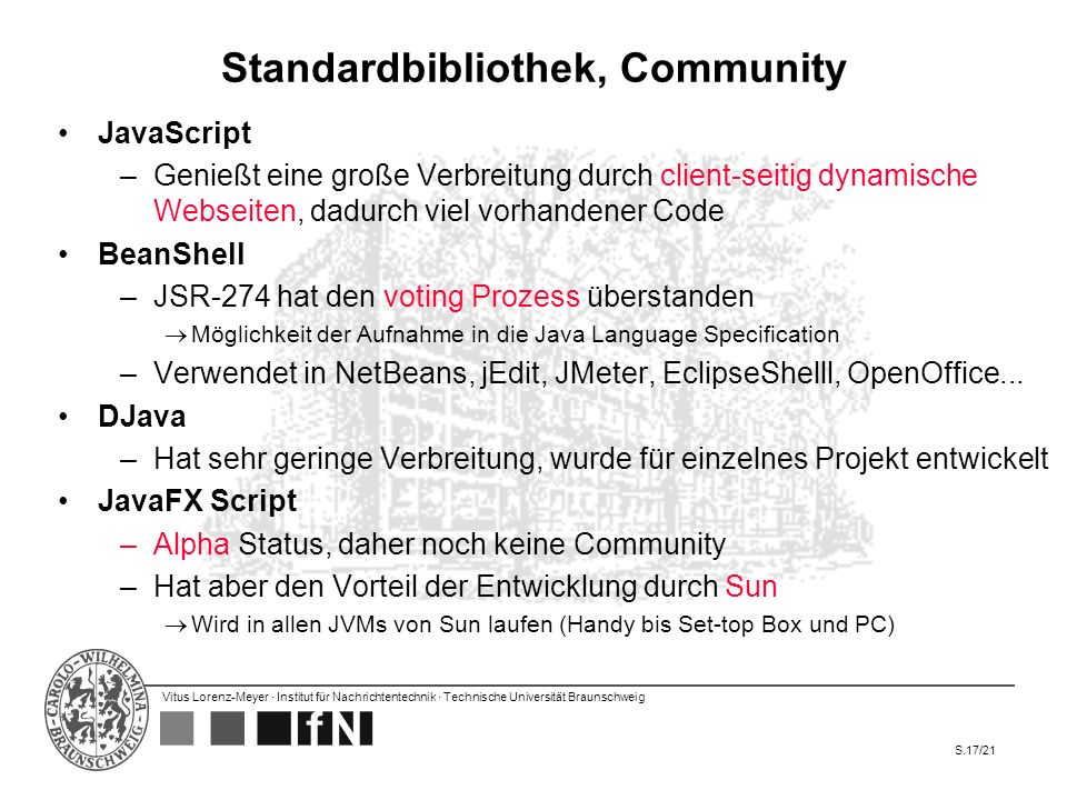 Standardbibliothek, Community