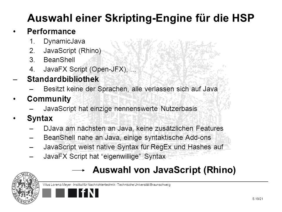 Auswahl einer Skripting-Engine für die HSP