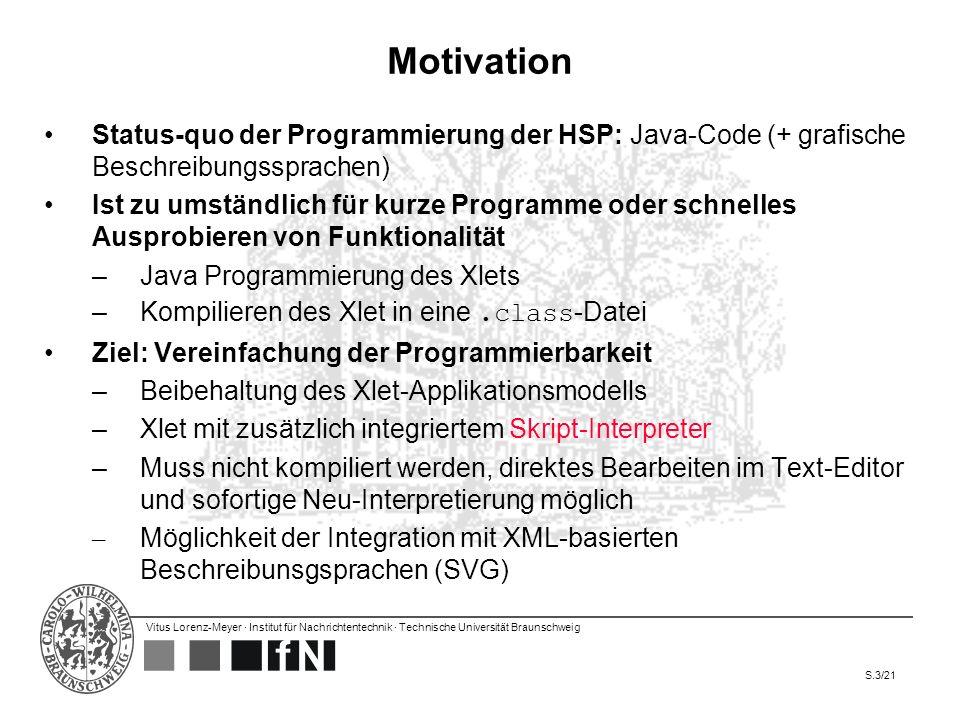 Motivation Status-quo der Programmierung der HSP: Java-Code (+ grafische Beschreibungssprachen)