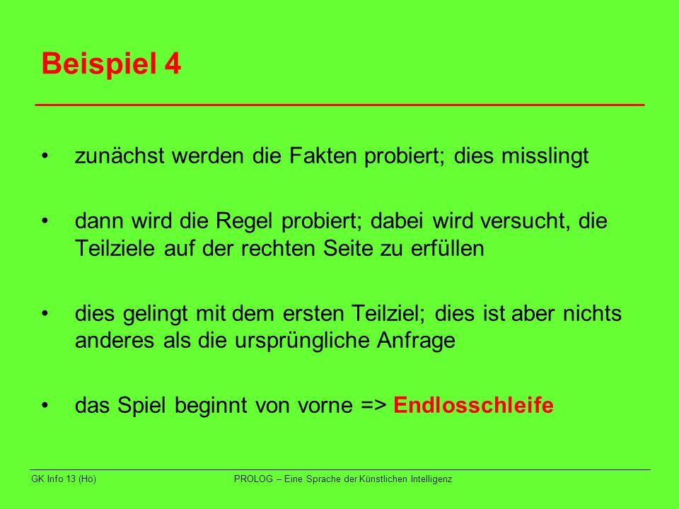 Beispiel 4 zunächst werden die Fakten probiert; dies misslingt