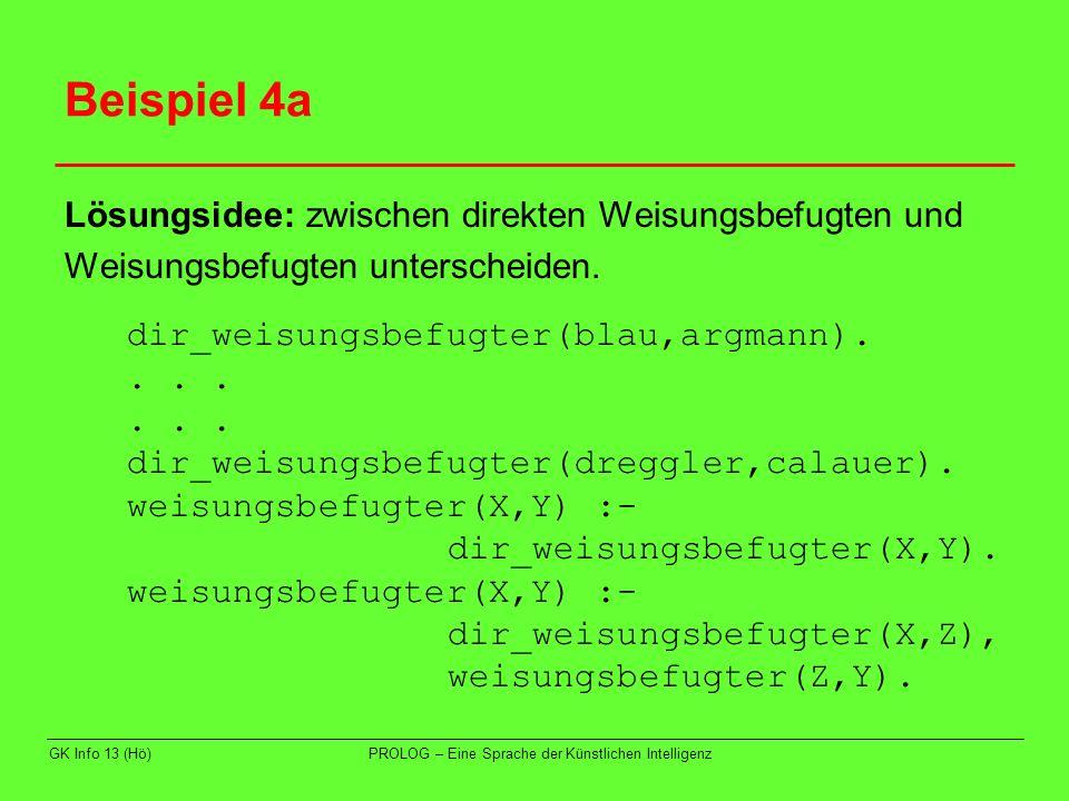 Beispiel 4a Lösungsidee: zwischen direkten Weisungsbefugten und