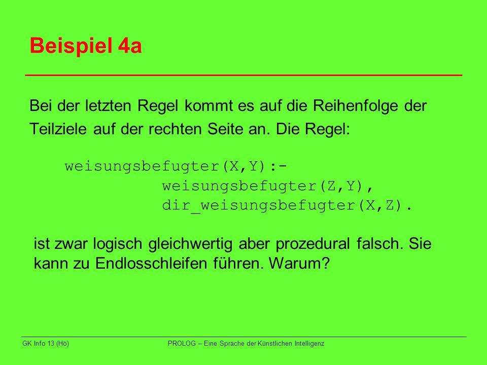 Beispiel 4a Bei der letzten Regel kommt es auf die Reihenfolge der