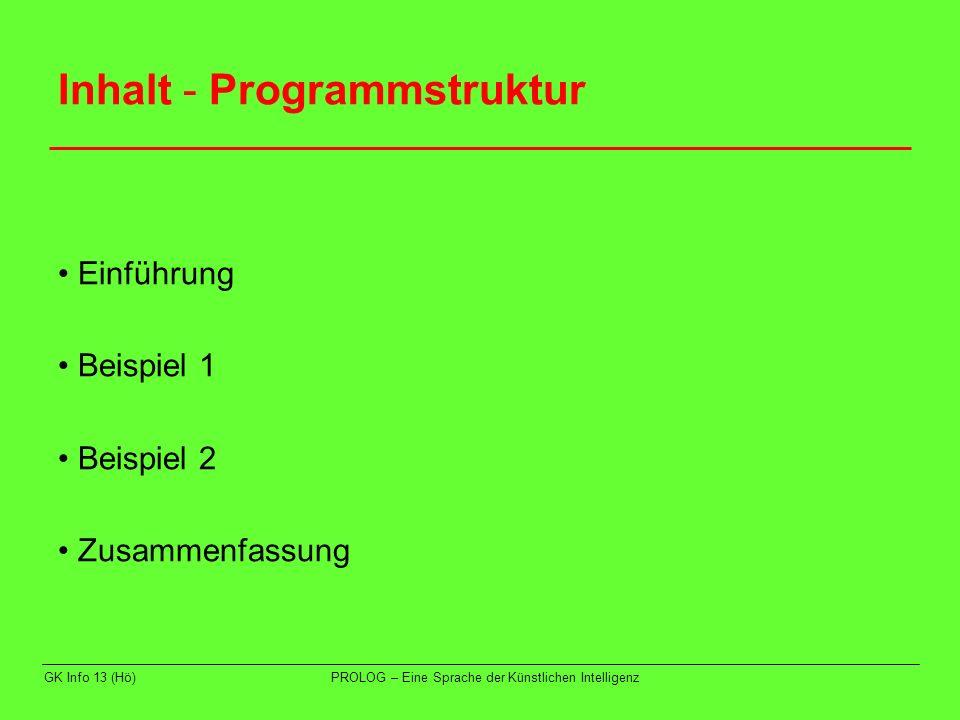 Inhalt - Programmstruktur
