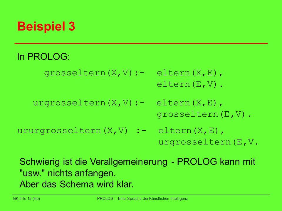 Beispiel 3 In PROLOG: grosseltern(X,V):- eltern(X,E), eltern(E,V).