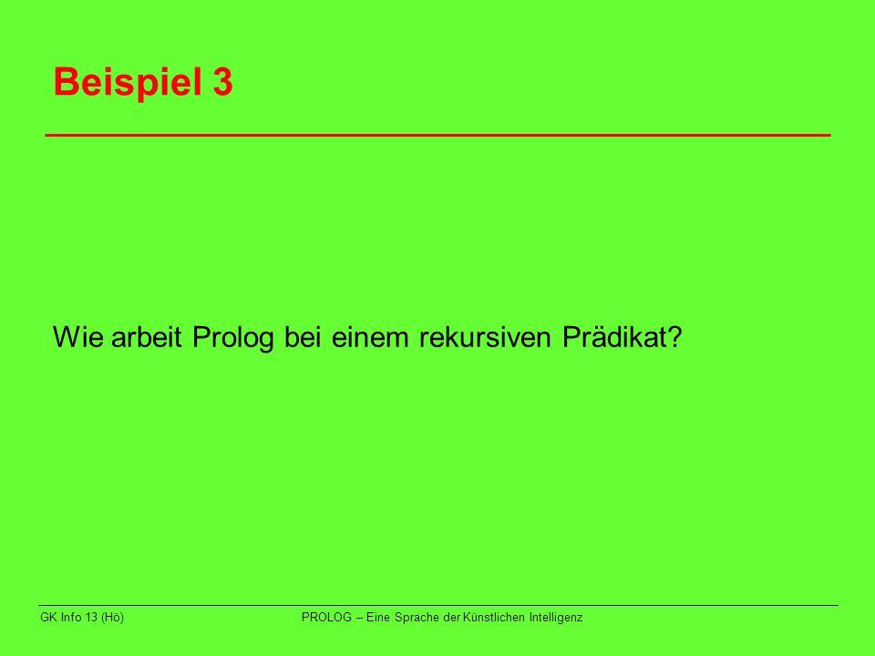 Beispiel 3 Wie arbeit Prolog bei einem rekursiven Prädikat