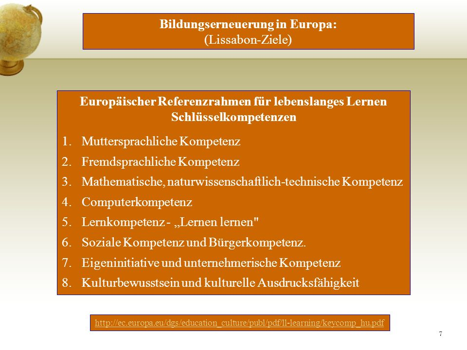 Bildungserneuerung in Europa: (Lissabon-Ziele)