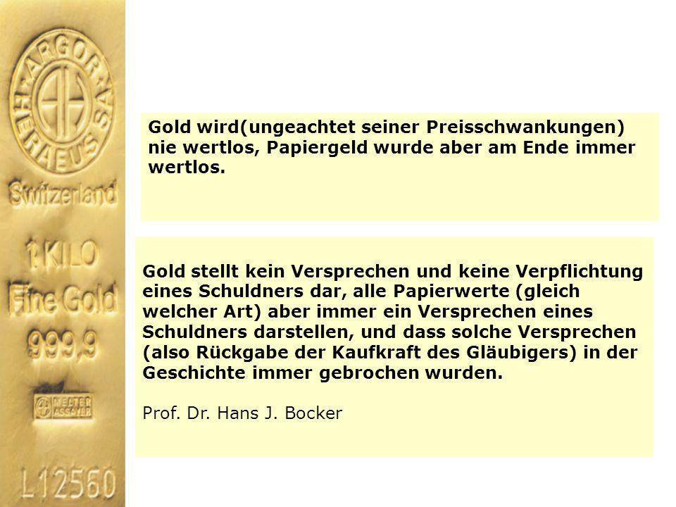 Gold wird(ungeachtet seiner Preisschwankungen) nie wertlos, Papiergeld wurde aber am Ende immer wertlos.
