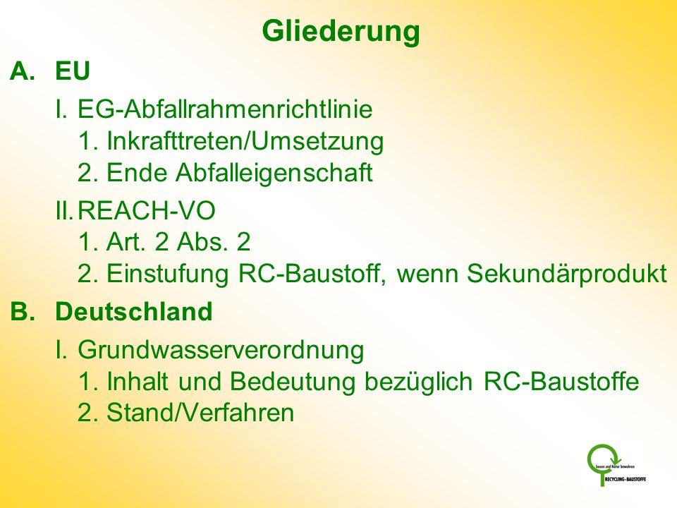 Gliederung EU. I. EG-Abfallrahmenrichtlinie 1. Inkrafttreten/Umsetzung 2. Ende Abfalleigenschaft.