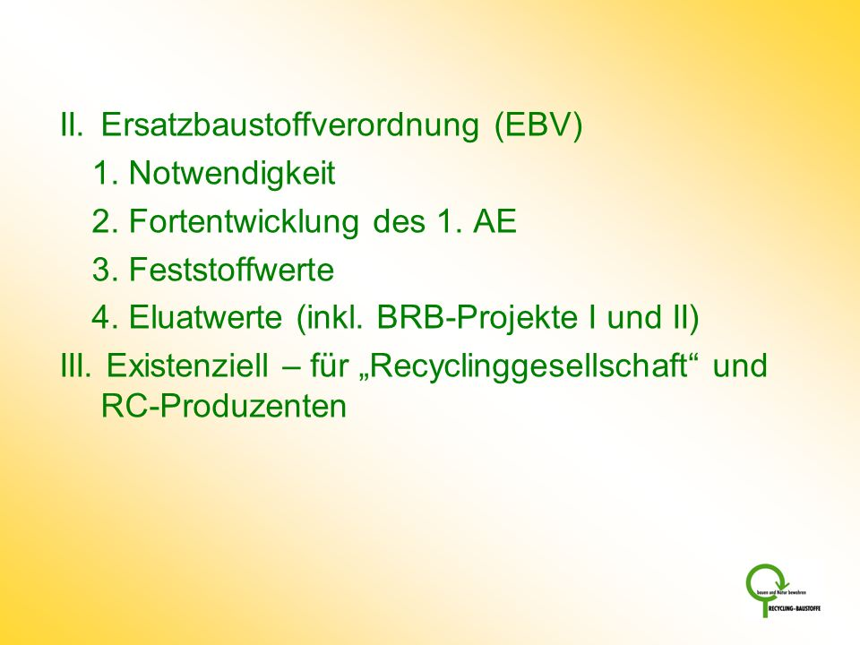 II. Ersatzbaustoffverordnung (EBV)
