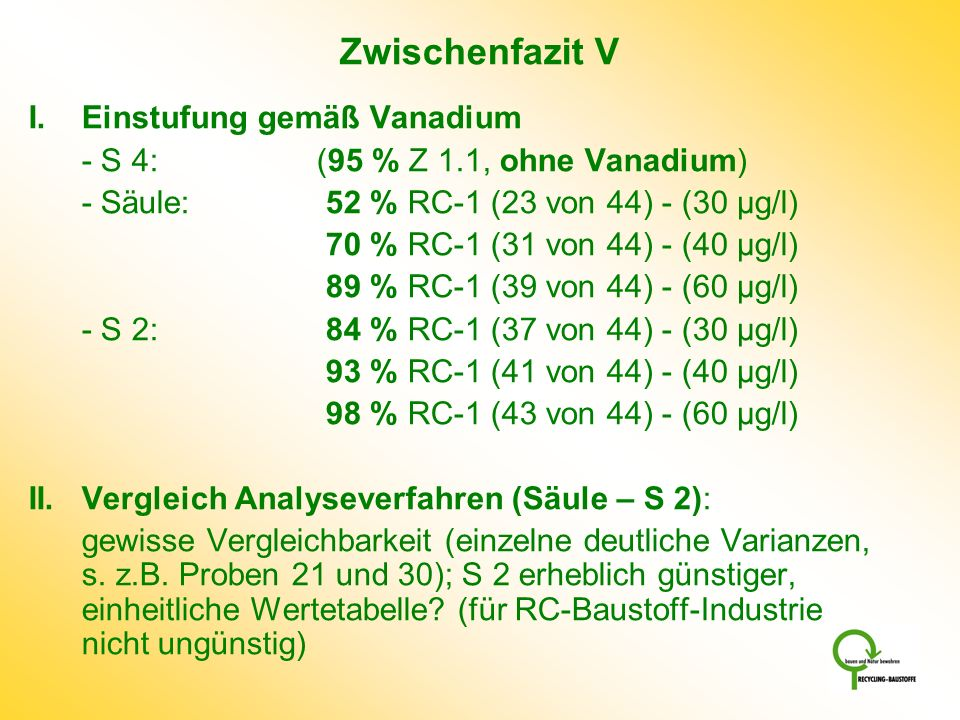 Zwischenfazit V I. Einstufung gemäß Vanadium