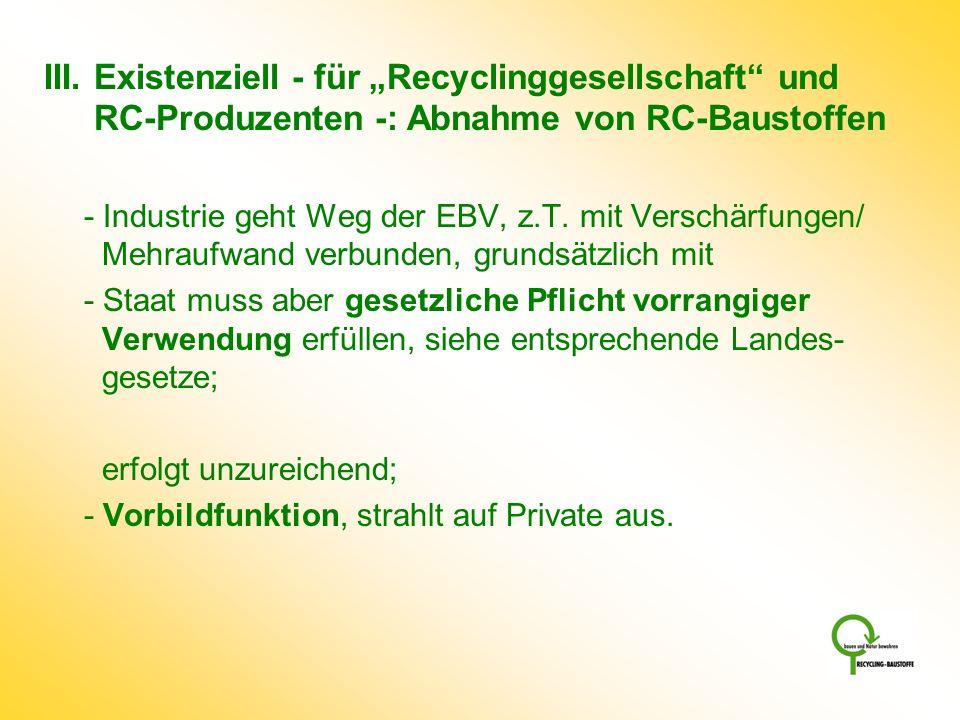 """III. Existenziell - für """"Recyclinggesellschaft und RC-Produzenten -: Abnahme von RC-Baustoffen"""