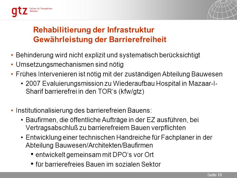Rehabilitierung der Infrastruktur Gewährleistung der Barrierefreiheit