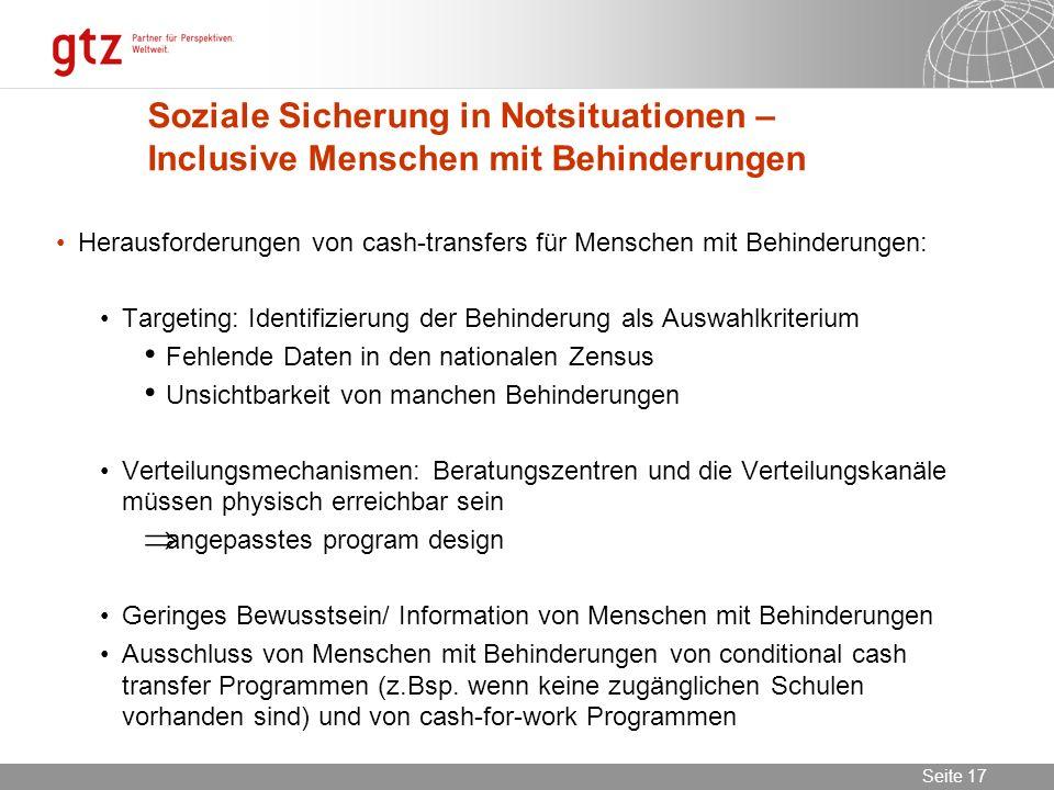 Soziale Sicherung in Notsituationen – Inclusive Menschen mit Behinderungen