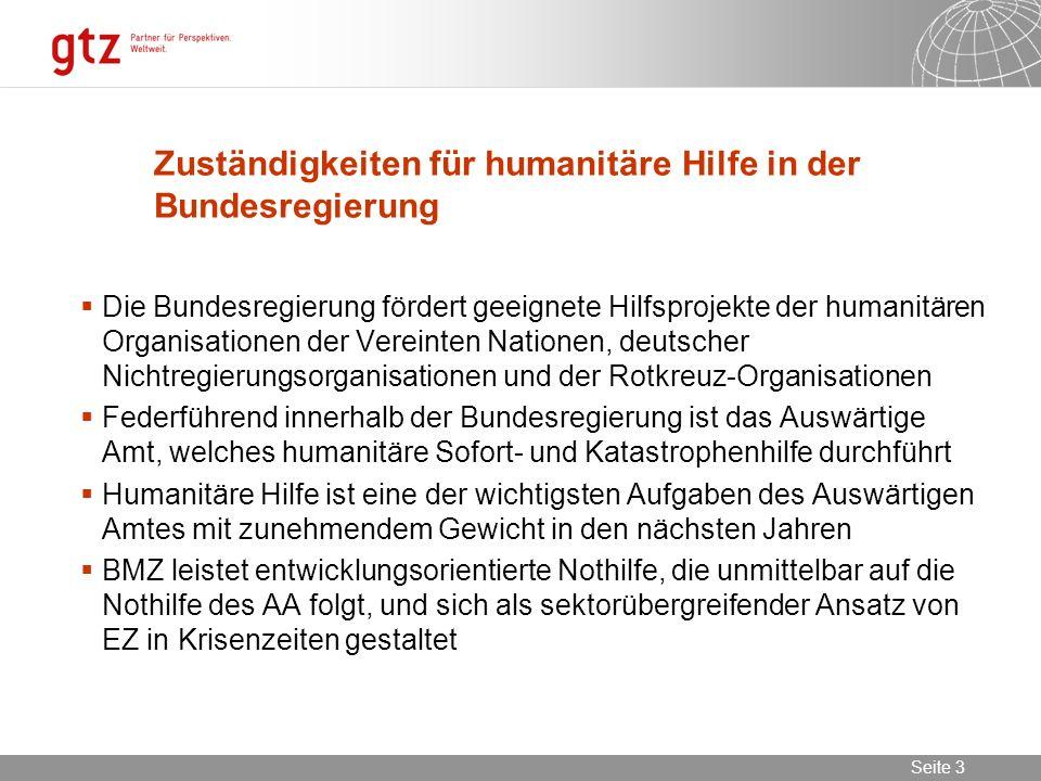 Zuständigkeiten für humanitäre Hilfe in der Bundesregierung