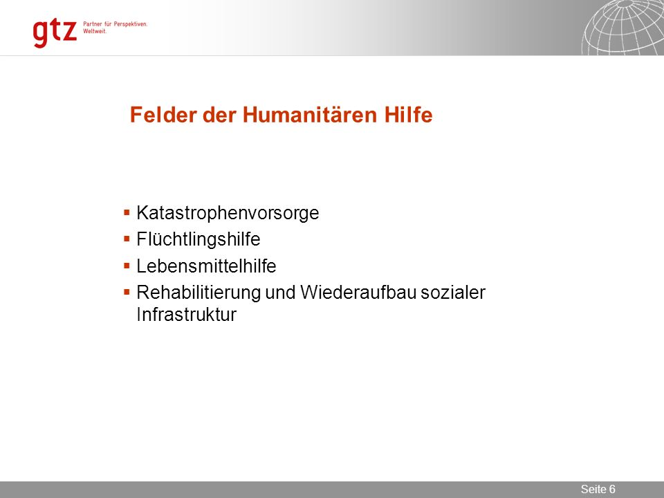 Felder der Humanitären Hilfe