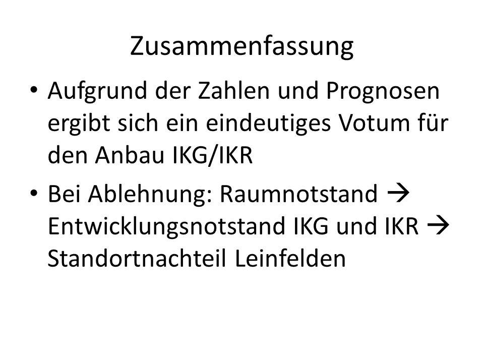 ZusammenfassungAufgrund der Zahlen und Prognosen ergibt sich ein eindeutiges Votum für den Anbau IKG/IKR.