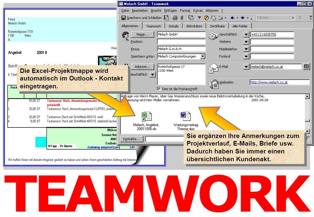 Die Excel-Projektmappe wird automatisch im Outlook - Kontakt eingetragen.