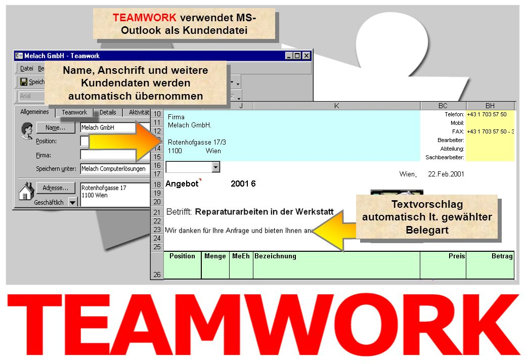 TEAMWORK verwendet MS-Outlook als Kundendatei