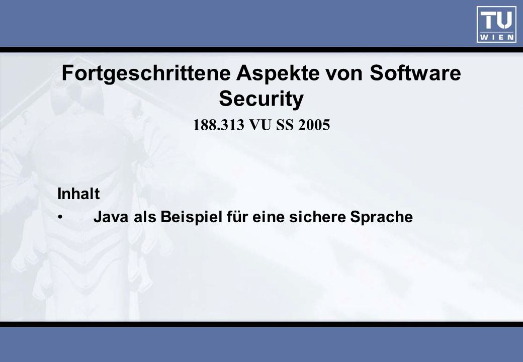 Fortgeschrittene Aspekte von Software Security 188.313 VU SS 2005