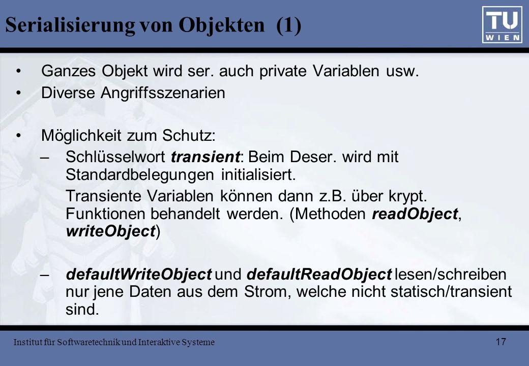 Serialisierung von Objekten (1)