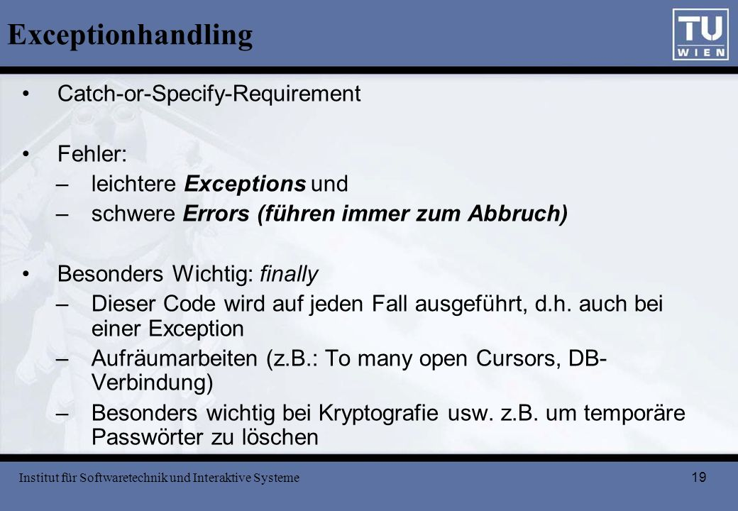 Exceptionhandling Catch-or-Specify-Requirement Fehler: