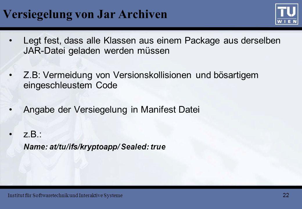 Versiegelung von Jar Archiven