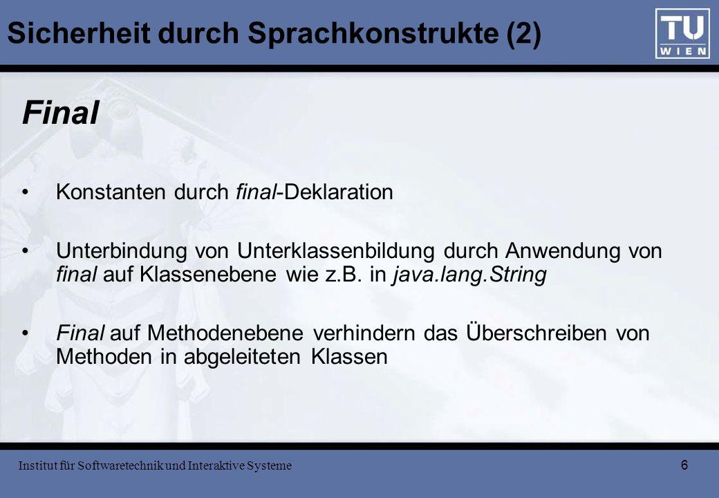 Sicherheit durch Sprachkonstrukte (2)