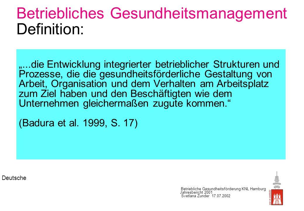 Betriebliches Gesundheitsmanagement Definition: