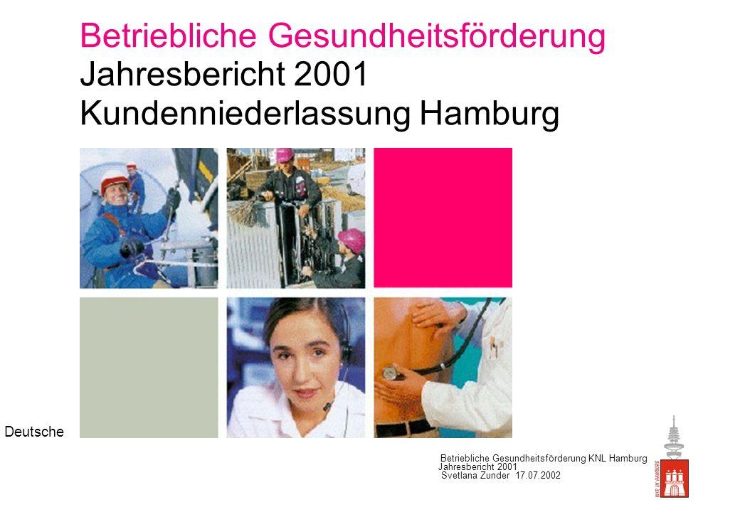 Betriebliche Gesundheitsförderung Jahresbericht 2001 Kundenniederlassung Hamburg