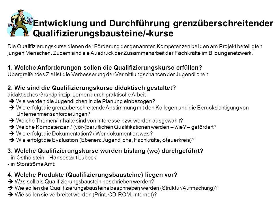 Entwicklung und Durchführung grenzüberschreitender Qualifizierungsbausteine/-kurse