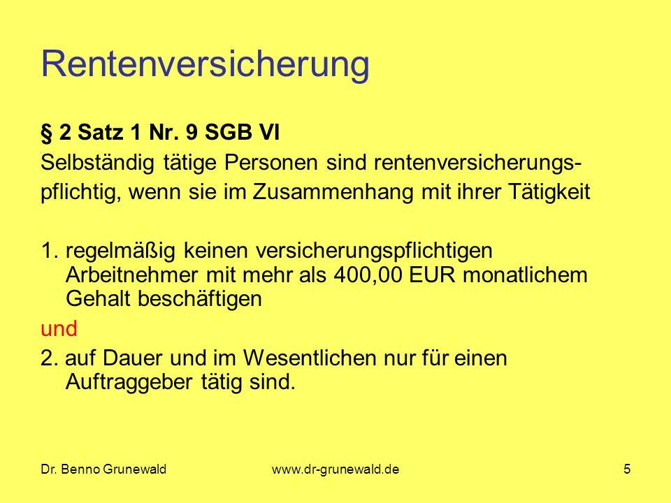 Rentenversicherung § 2 Satz 1 Nr. 9 SGB VI