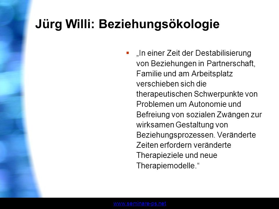 Jürg Willi: Beziehungsökologie