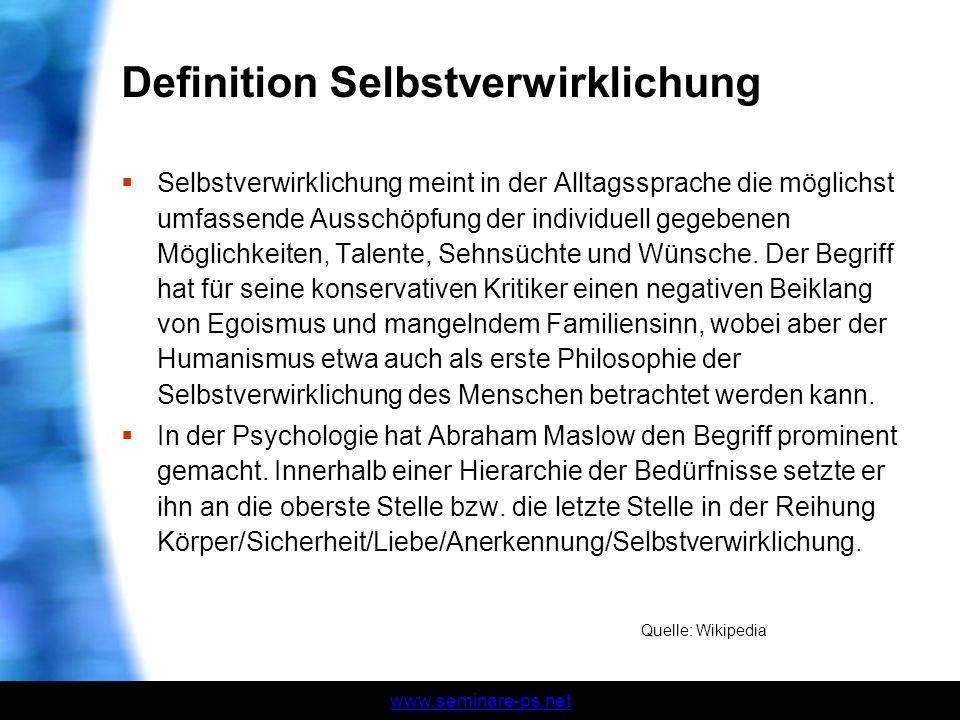 Definition Selbstverwirklichung