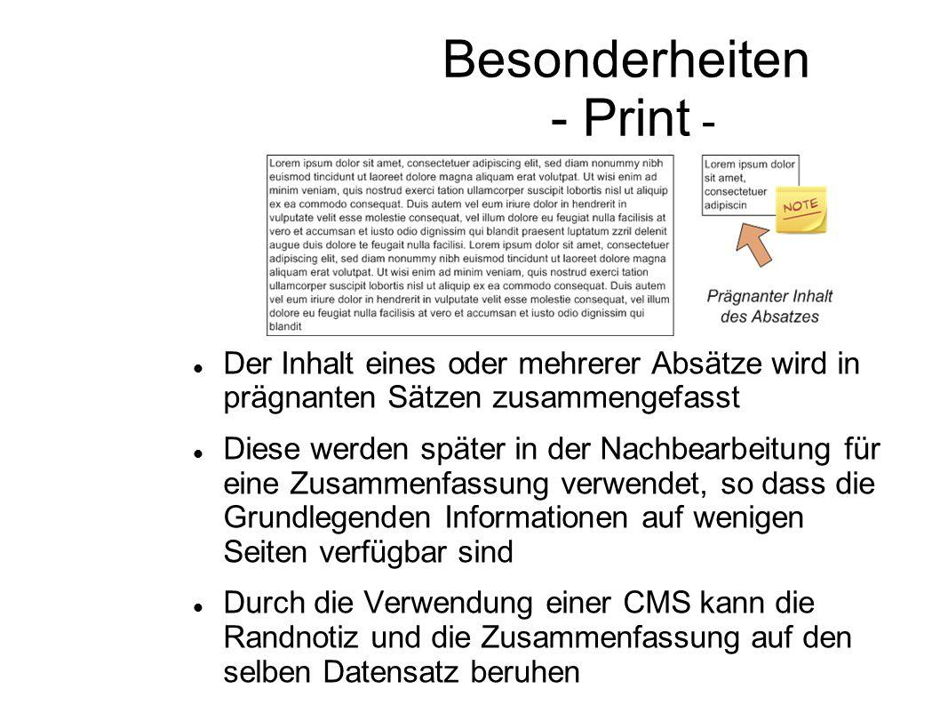 Besonderheiten - Print -