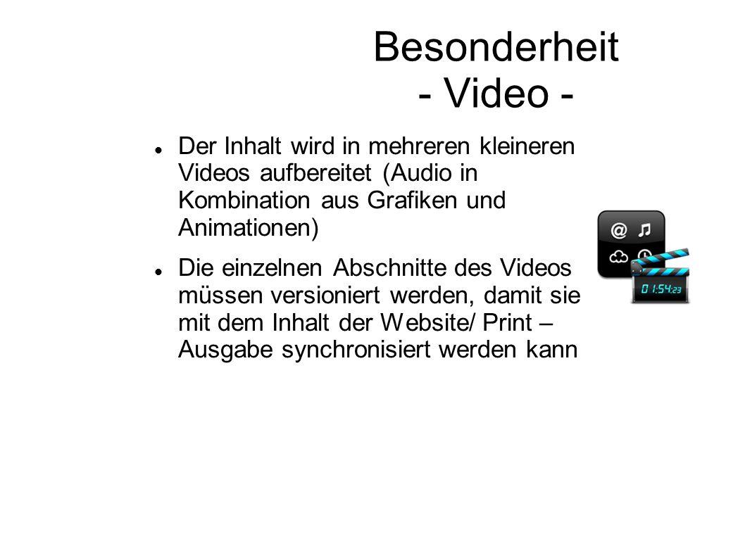 Besonderheit - Video - Der Inhalt wird in mehreren kleineren Videos aufbereitet (Audio in Kombination aus Grafiken und Animationen)