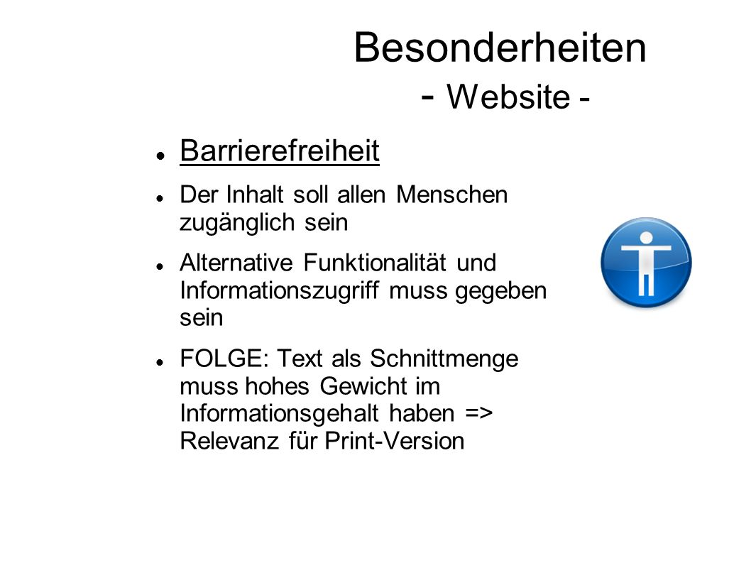 Besonderheiten - Website -