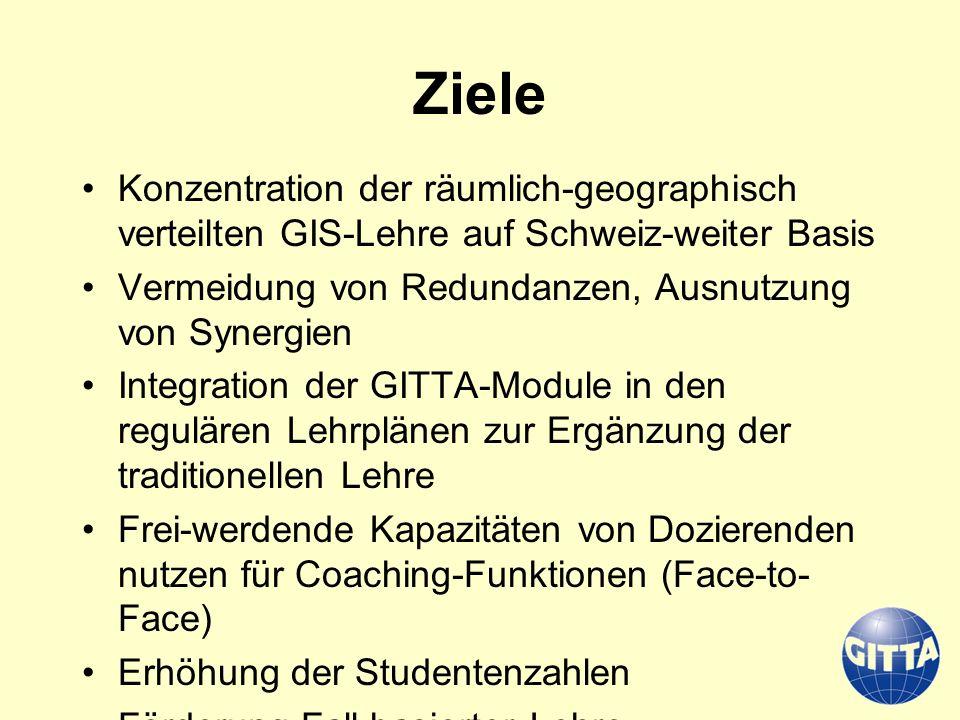 Ziele Konzentration der räumlich-geographisch verteilten GIS-Lehre auf Schweiz-weiter Basis. Vermeidung von Redundanzen, Ausnutzung von Synergien.