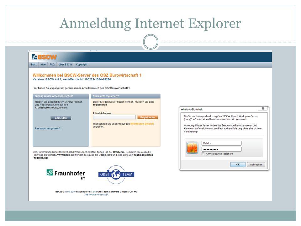 Anmeldung Internet Explorer