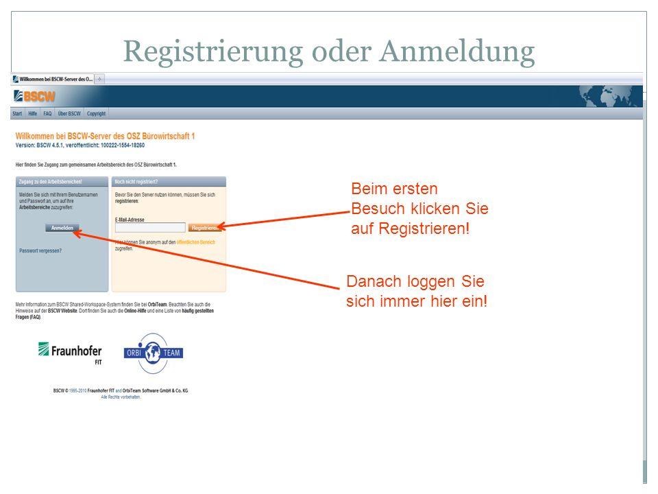 Registrierung oder Anmeldung