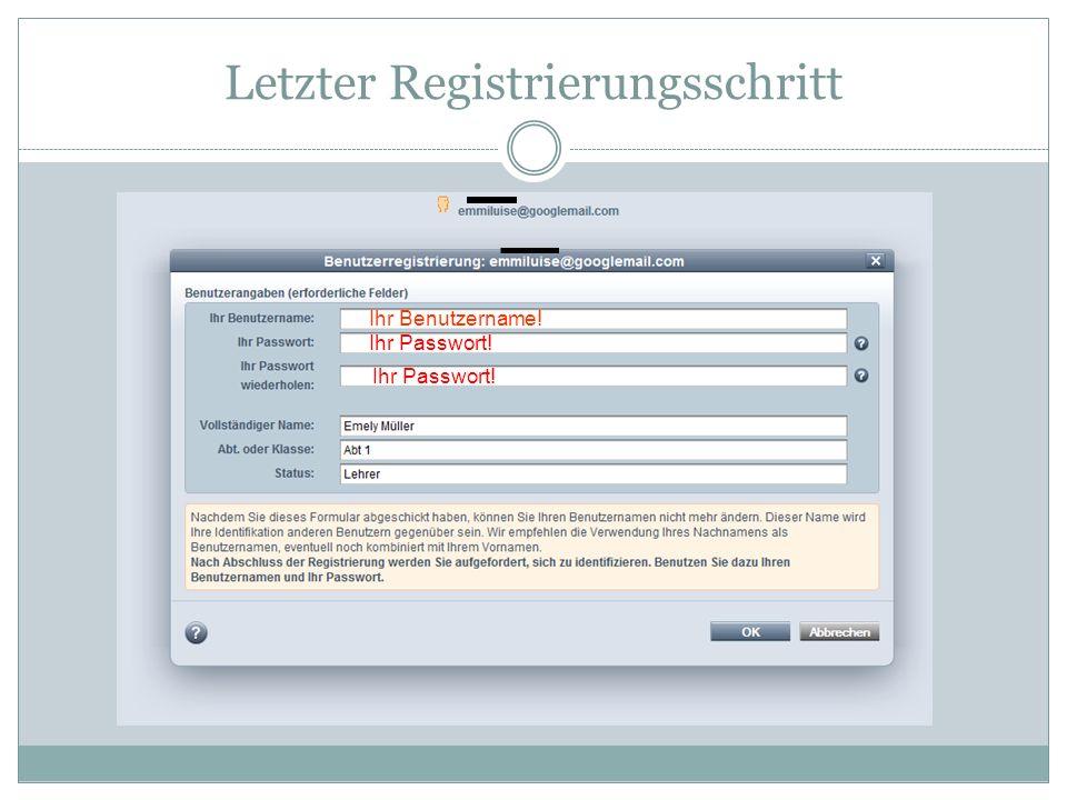 Letzter Registrierungsschritt