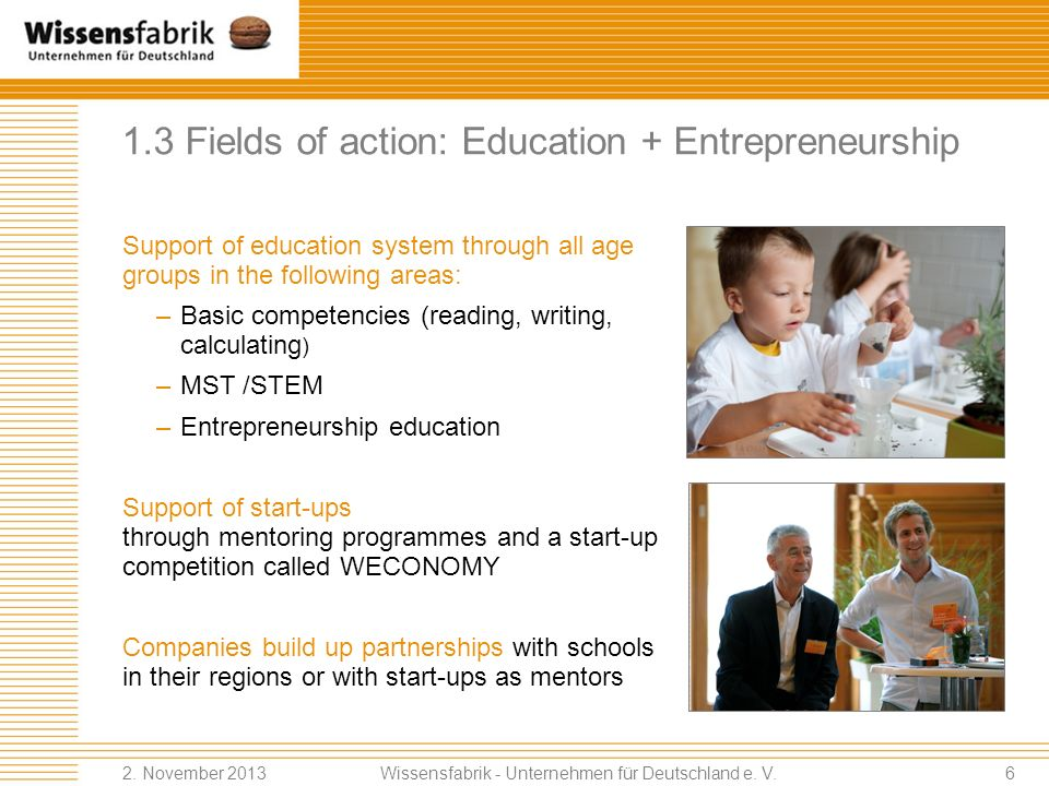 1.3 Fields of action: Education + Entrepreneurship