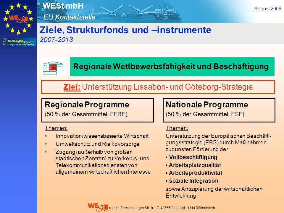 Ziel: Unterstützung Lissabon- und Göteborg-Strategie