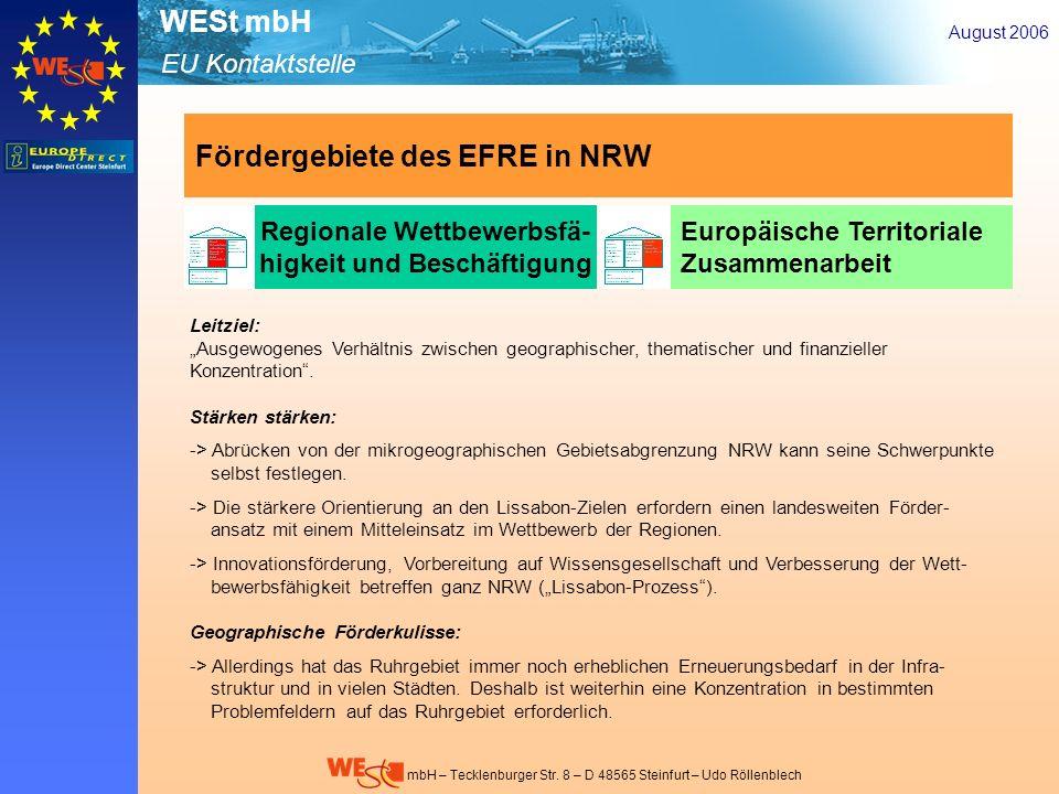 Fördergebiete des EFRE in NRW