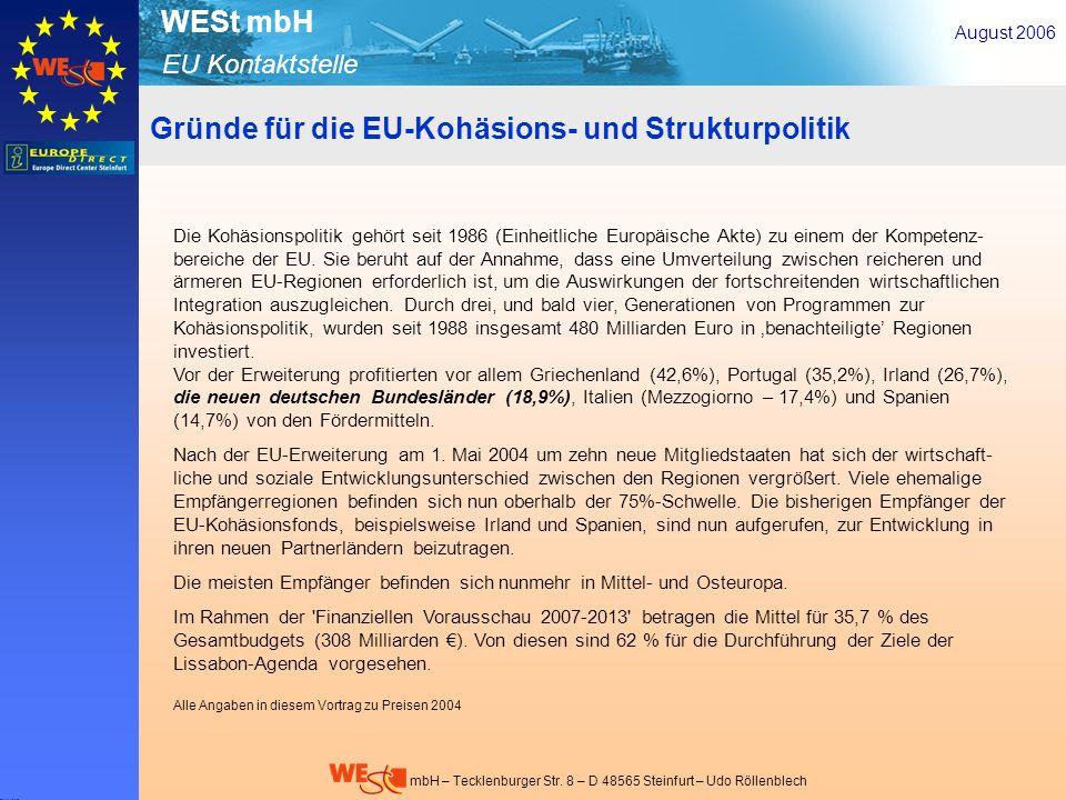 Gründe für die EU-Kohäsions- und Strukturpolitik